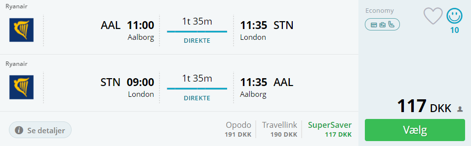 Fly fra Aalborg til London