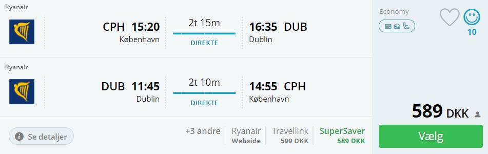 Flybilletter til Dublin i efterårsferien