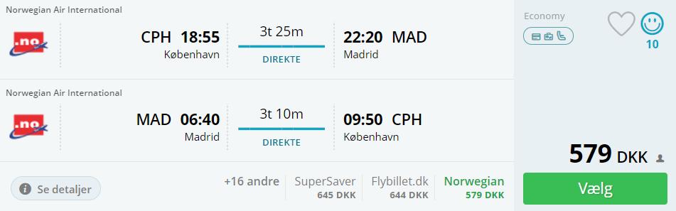 Flybilletter til Madrid i efterårsferien