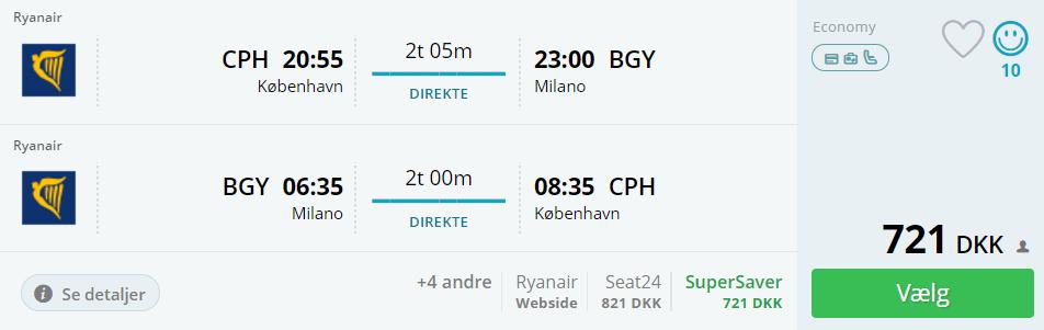 Flybilletter til Milano i efterårsferien 2017