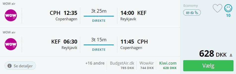 Billige flybilletter fra København til Reykjavik