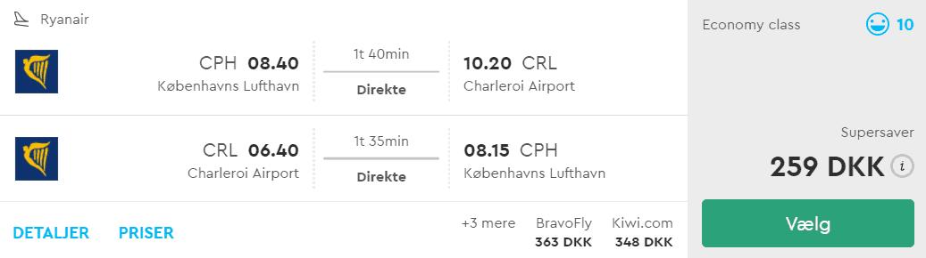 Fly fra København til Bruxelles