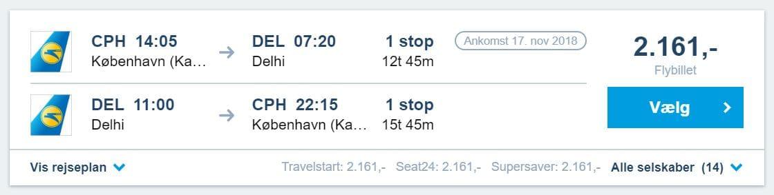 Billige flybilletter fra København til New Delhi