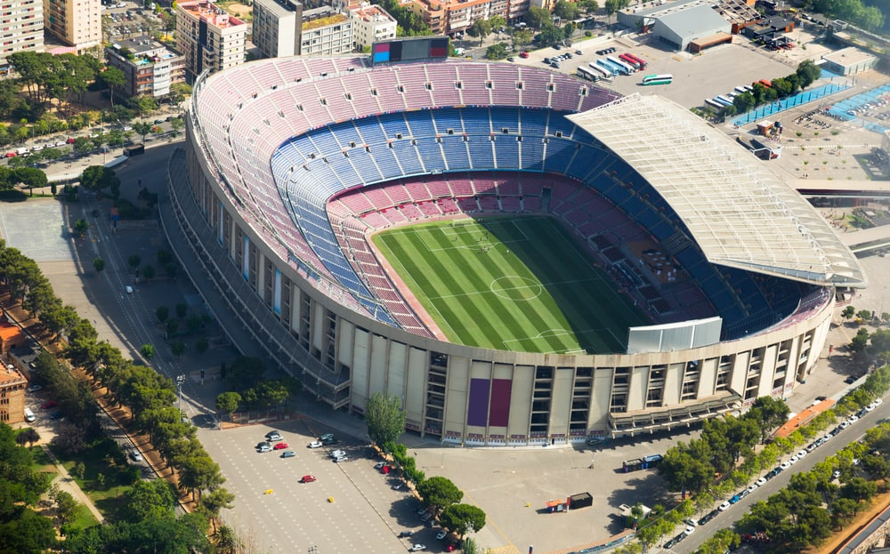 Camp Nou i Barcelona set fra oven.