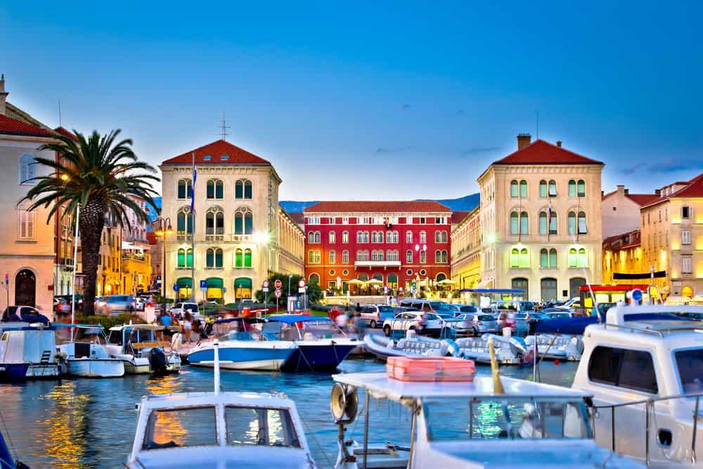 Aften i Split i Kroatien