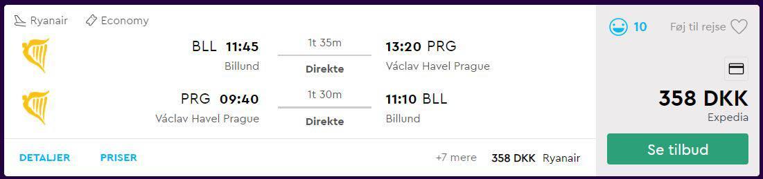 Billige flybilletter fra Billund til Prag