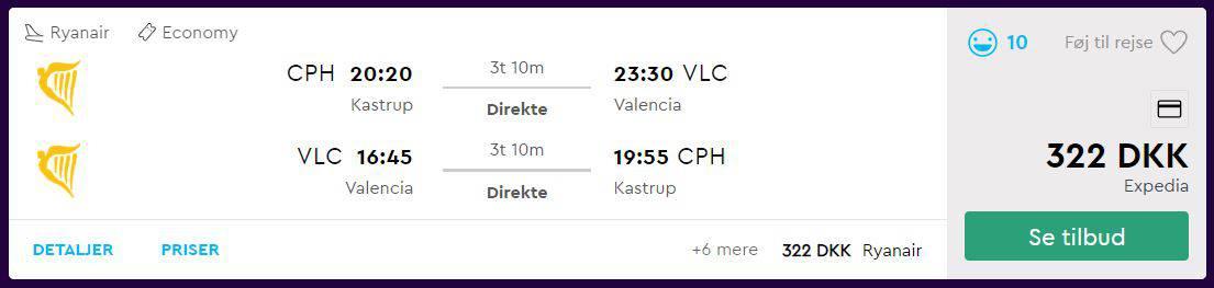 Fly fra København til Valencia