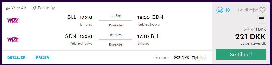 Fly fra Billund til Gdansk i Polen