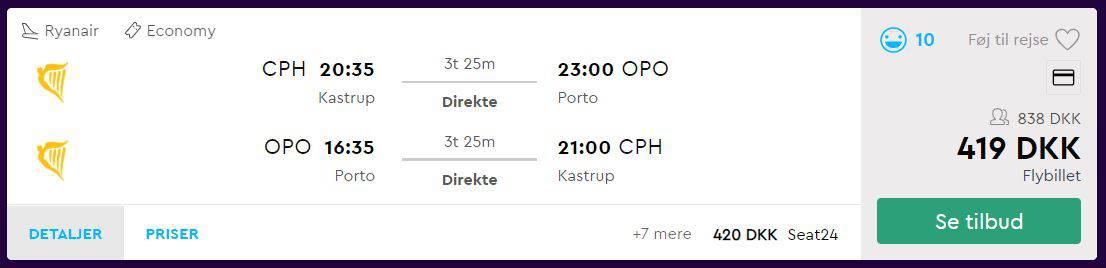 Screenshot af priser på flybilletter fra København til Porto (priser fra momondo.dk)