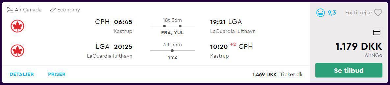 Fly fra Kastrup Lufthavn til New York