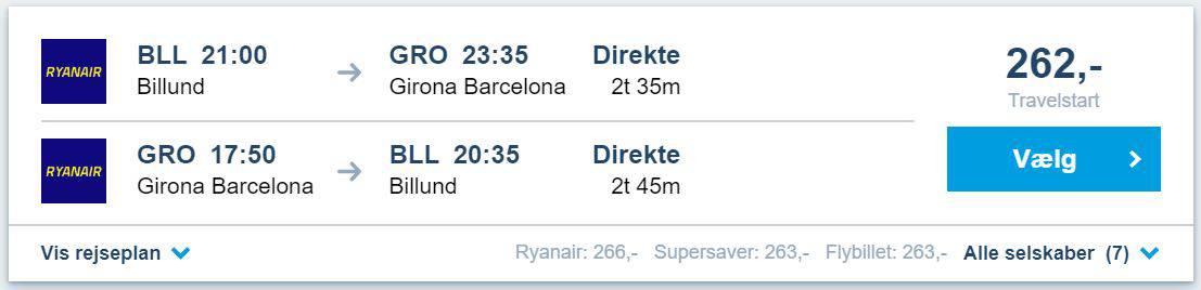 Flybilletter fra Billund til Barcelona