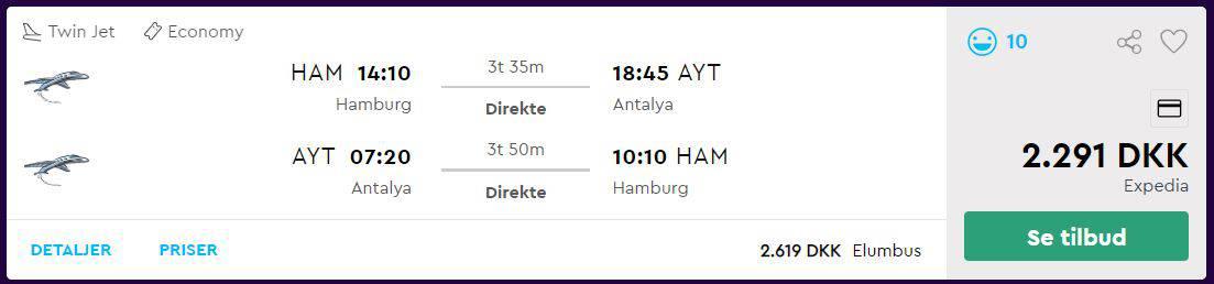 Flybilletter fra Hamborg til Antalya