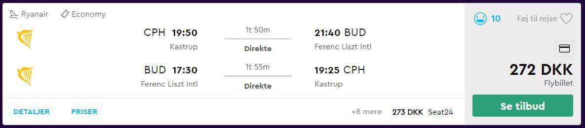 Flybilletter fra København til Budapest