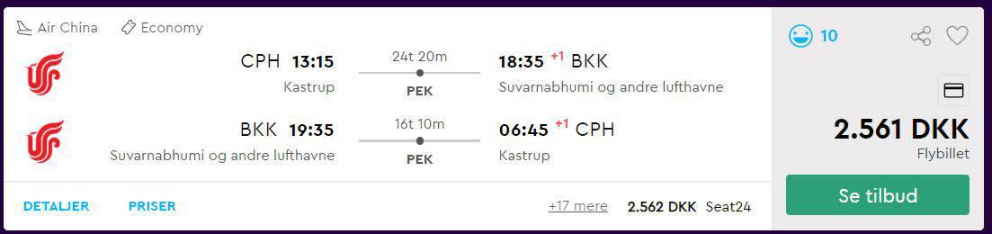 Flybilletter fra København til Hua Hin i Thailand