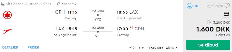 Flybilletter fra København til Los Angeles
