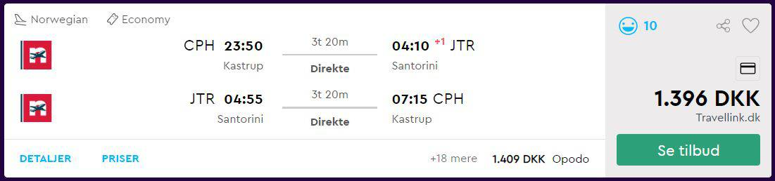 Flybilletter fra København til Santorini