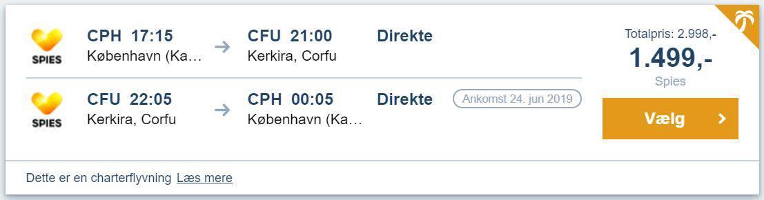Flybilletter fra København til Korfu