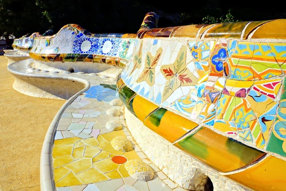 Mosaik bænk - Park Güell i Barcelona