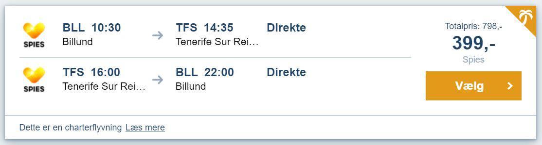 Flybilletter fra Billund til Tenerife