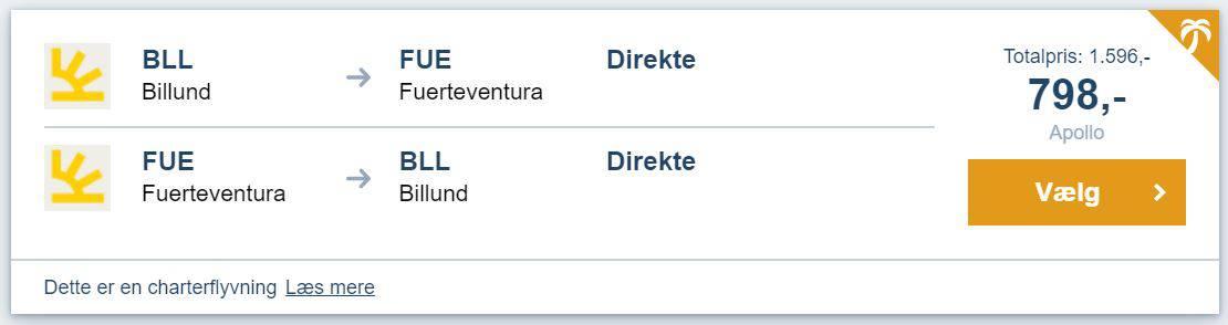 Billige flybilletter fra Billund til Fuerteventura