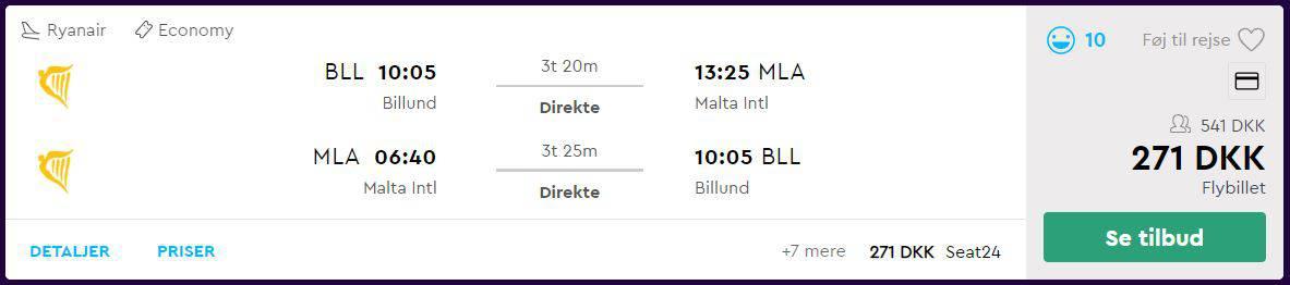 Flybilletter fra Billund til Malta