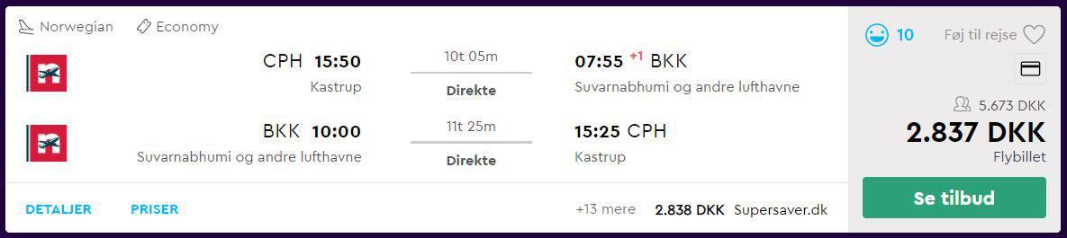 Flybilletter fra København til Bangkok
