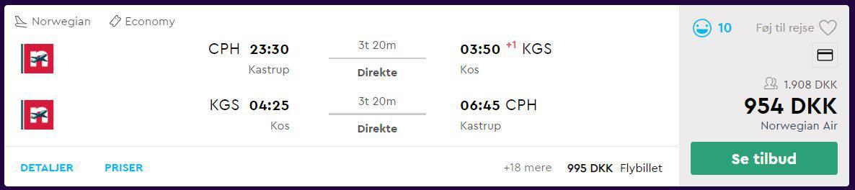 Flybilletter fra København til Kos
