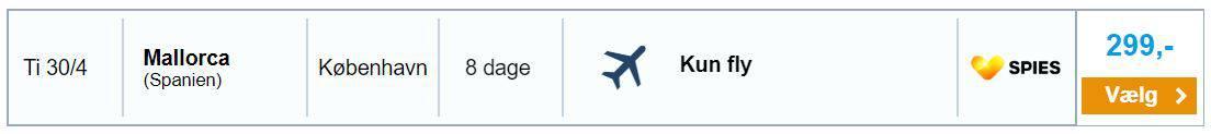 Flybilletter fra København til Mallorca i Spanien