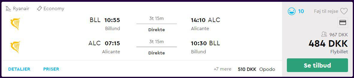 Flybilletter fra Billund til Alicante