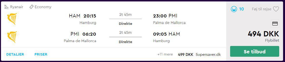 Flybilletter fra Hamborg til Mallorca