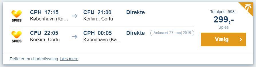 Flybilletter fra Kbh. til Korfu