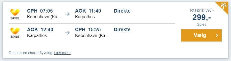Flybilletter fra København til Karpathos i Grækenland