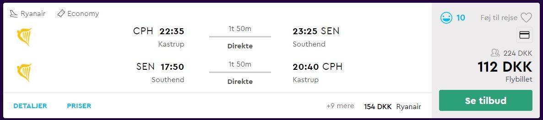 Flybilletter fra København til London