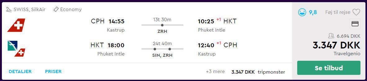 Flybilletter fra København til Phuket i Thailand