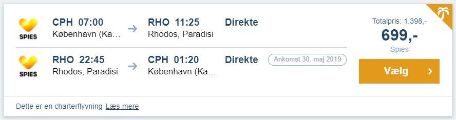 Flybilletter fra København til Rhodos i Grækenland