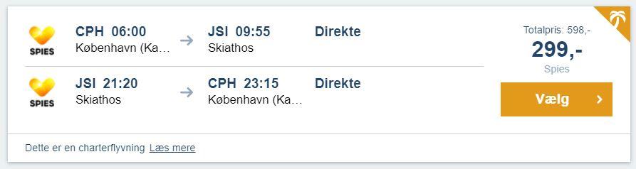 Flybilletter fra København til Skiathos (Grækenland)