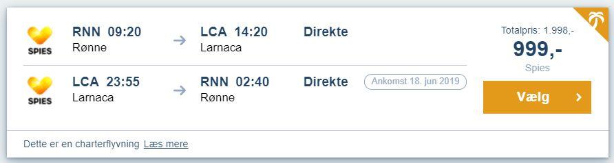 Flybilletter fra Rønne (Bornholm) til Cypern