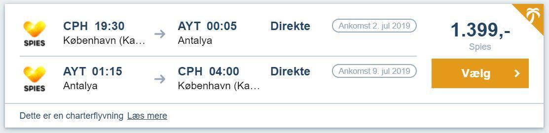 Flybilletter fra København til Antalya i Tyrkiet