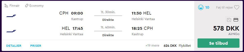 Flybilletter fra København til Helsinki (Finland)