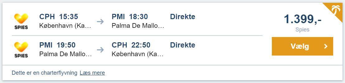 Flybilletter fra København til Mallorca