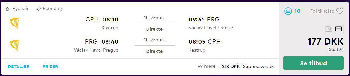 Tur/retur flybilletter til Prag