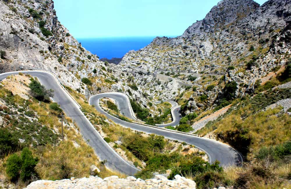 Bjergveje på Mallorca i Spanien