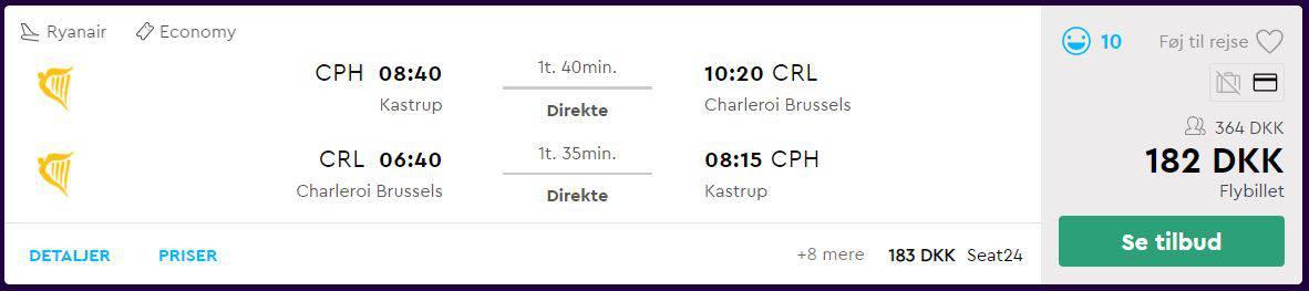 Flybilletter til Bruxelles fra København