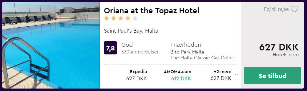Oriana at the Topaz Hotel - Malta