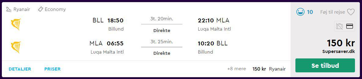 Billige flybilletter til Malta fra Billund