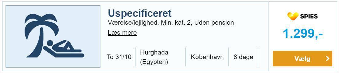 Uspecificeret charter til Hurghada i Egypten