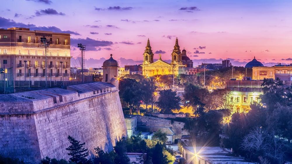 Solnedgang i Valletta på Malta